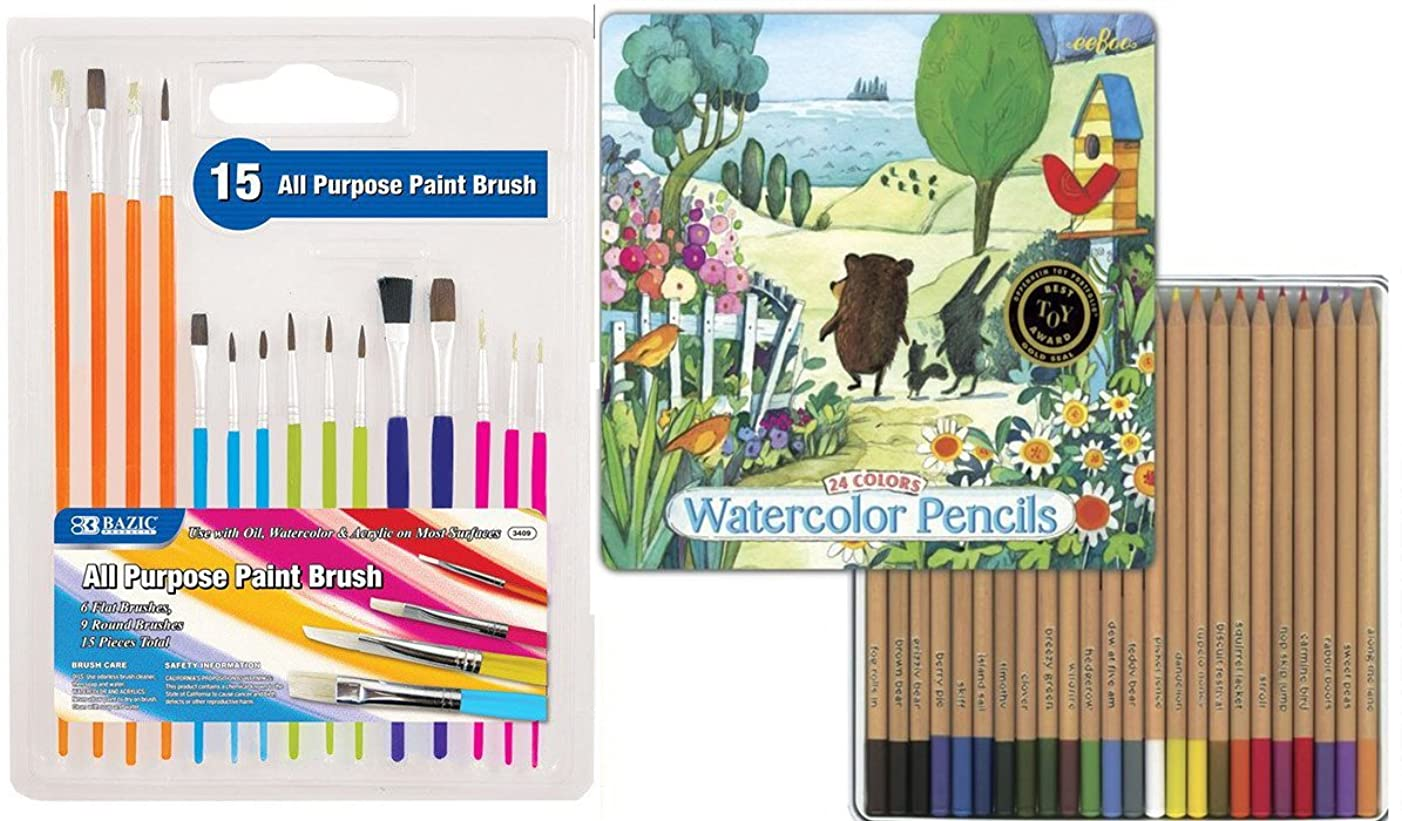 Watercolor Pencils 24 pack tin & 15 Paint Brushes Art Supplies Kit