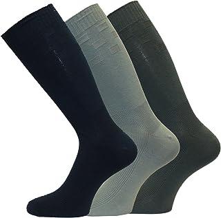 Mens Diabetic Friendly Extra Roomy Top Wide Foot Short mid calf Socks 3-Pair-Pk