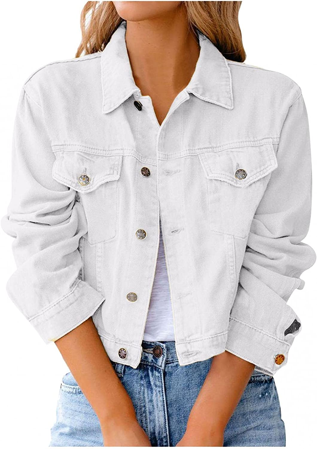 FGDJEE Jean Jackets for Women Casual Classic Button Down Distressed Short Denim Jean Jacket Coat with Pockets