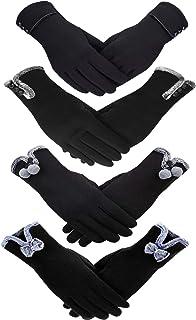 4 أزواج قفازات شتوية نسائية من الصوف الناعم الدافئ تعمل باللمس إكسسوارات الشتاء الدافئة للنساء الفتيات (طراز مجموعة 8)