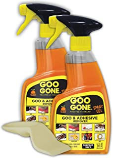 Goo Gone Adhesive Remover Spray Gel - 2 Pack and Sticker Lifter - Removes Chewing Gum Grease Tar Stickers Labels Tape Residue Oil Blood Lipstick Mascara