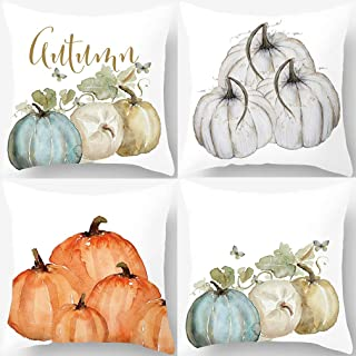 PSDWETS Autumn Decorations Pumpkin Pillow Covers Set of 4 Fall Decor Cotton Linen Throw Pillow Covers Cushion Cover 18 X 18