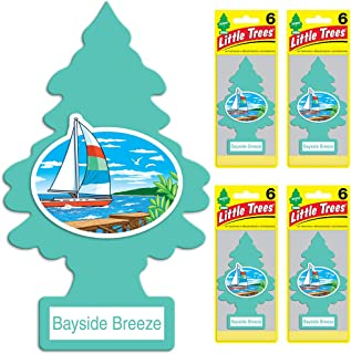 LITTLE TREES Car Air Freshener | Hanging Tree Provides Long Lasting Scent for Auto or Home | Bayside Breeze, 6-packs (4 count)