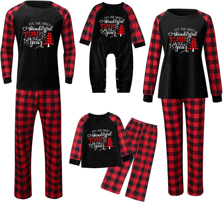 Men Matching Family Christmas Pajamas PJ's Set Christmas Pjs for family Set Red Plaid Top and Long Pants Xmas Sleepwear Sets