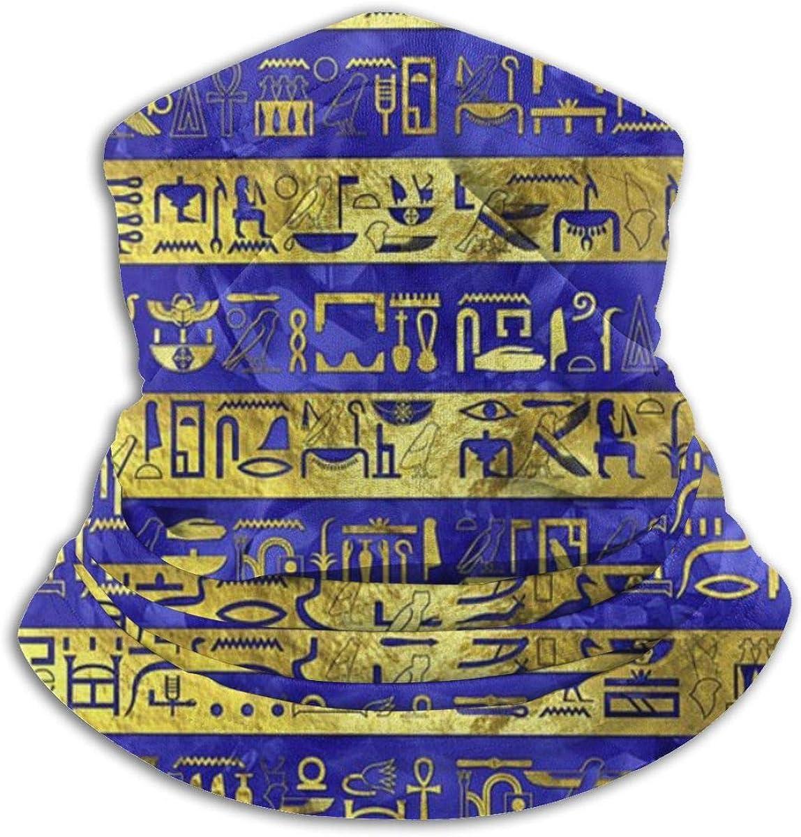 CLERO& Scarf Fleece Neck Warmer Golden Purple Egyptian Egypt Hieroglyphs Windproof Outdoor Headwear Comfortable Neck Gaiter Warmer Face Mask for Cold Weather Winter Outdoor Sports