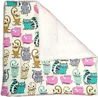 """Sherpa Catnip Blanket - 17"""" x 17"""" - Cat Play Mat - Lap Pad - 3 Layers - Cute Cats"""