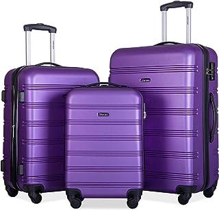 Merax Expandable Luggage TSA Locks, 3 Piece Lightweight Spinner Suitcase Set, Purple, One_Size