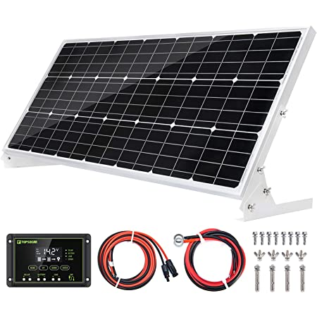 Topsolar 100W 12V Solar Panel Kit Battery Charger 100 Watt 12 Volt Off Grid System for Homes RV Boat + 20A Solar Charge Controller + Solar Cables + Brackets for Mounting+B 3
