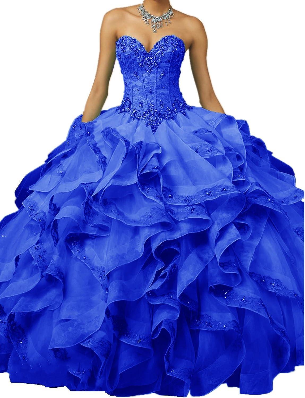 XSWPL 2018 Sweetheart Quinceanera Dresses Beaded Ball Gown Sweet 16 Princess Dress