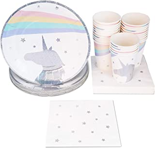 Disposable Dinnerware Set - Serves 24 - Unicorn Themed Party Supplies for Birthdays, Baby Showers, Unicorn Glitter Foil Design, Includes Paper Plates, Napkins, Cups