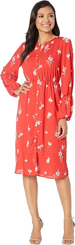 Diane Long Sleeve Shirred Maxi Dress