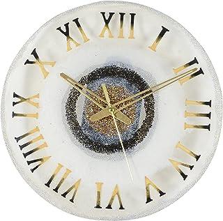 Sameer Resin Art Handmade Pearl White Golden Epoxy Resin Wall Clock (30.48 cm x 0.4 cm x 30.48 cm)