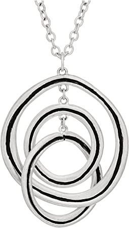 Ribbed Orbit Pendant Necklace 28""