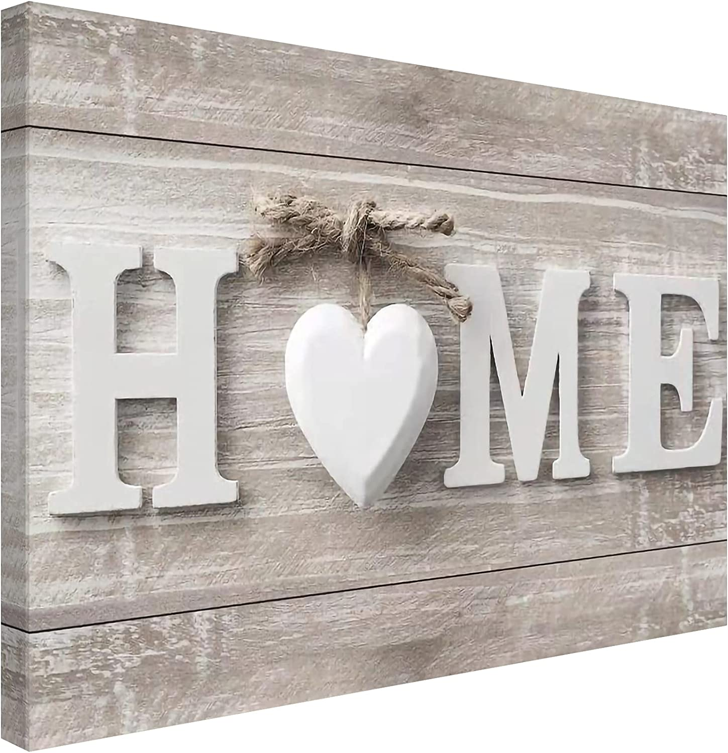 Sdmikeflax Welcome Home Bathroom Canvas Wall Art Farmhouse Wall Pictures, 1 Panel Vintage Wooden Love Sanctuary Sweet Heart Prints Decor, Beige Artwork Decorations for Living Room Kitchen ( Home, 16
