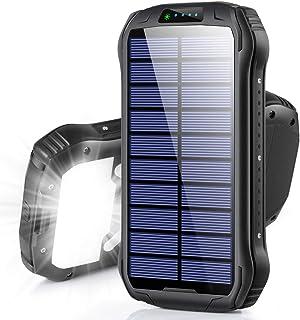 モバイルバッテリー ソーラー 大容量 15W急速充電 18個LEDライト付 ソーラー充電 Type-C入出力ポート Soxono 26800mAh ソーラーチャージャー モバイルバッテリー 3台同時充電 IPX6防水 耐衝撃 残量表示 緊急停電...