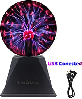 FunLites Magic Plasma Ball,6Inch Thunder Lightning, Touch & Sound Activated Plasma Globe for Parties, Novelty Decorations ...