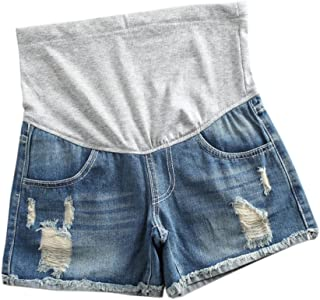 Juleyaing マタニティジーンズ マタニティパンツ ショートジーンズ ジーンズ レディース ファッション ストレッチ 通気性抜群 快適 妊婦用 調整可能 夏