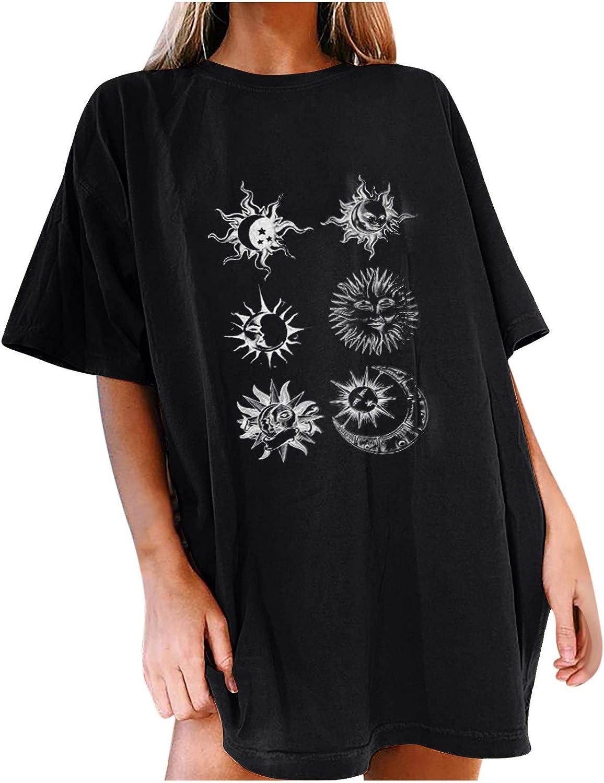 Masbird Shirts for Women Dressy,Vintage Oversized T Shirts Casual Short Sleeve Moon and Sun Print Christian Faith Top