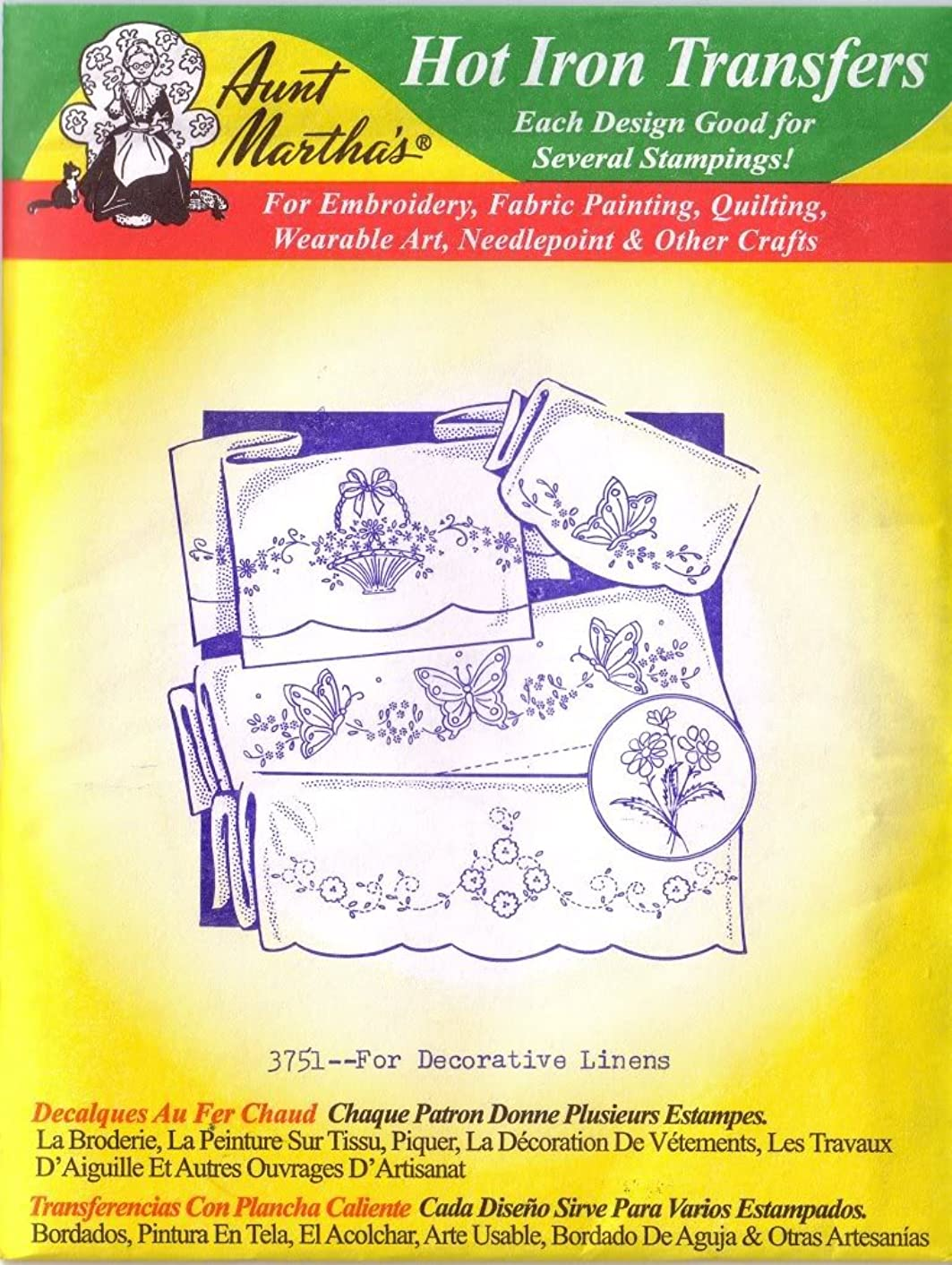 For Decorative Linens Aunt Martha's Hot Iron Embroidery Transfer
