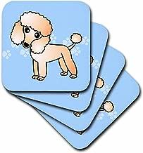 3dRose CST_13771_2 Cute Apricot Poodle Blue Paw Print Background Soft Coasters, Set of 8