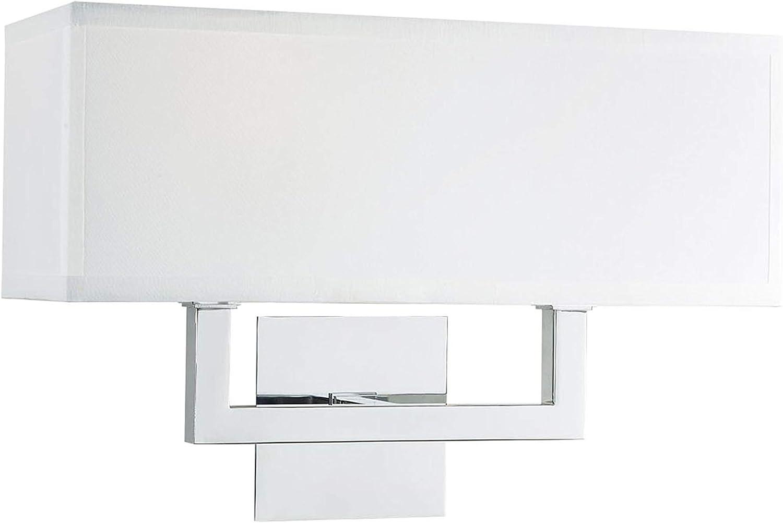 Sofia Wall Sconce 2 Light - w Linea Shade Chrome White Fabric Max 63% New Free Shipping OFF