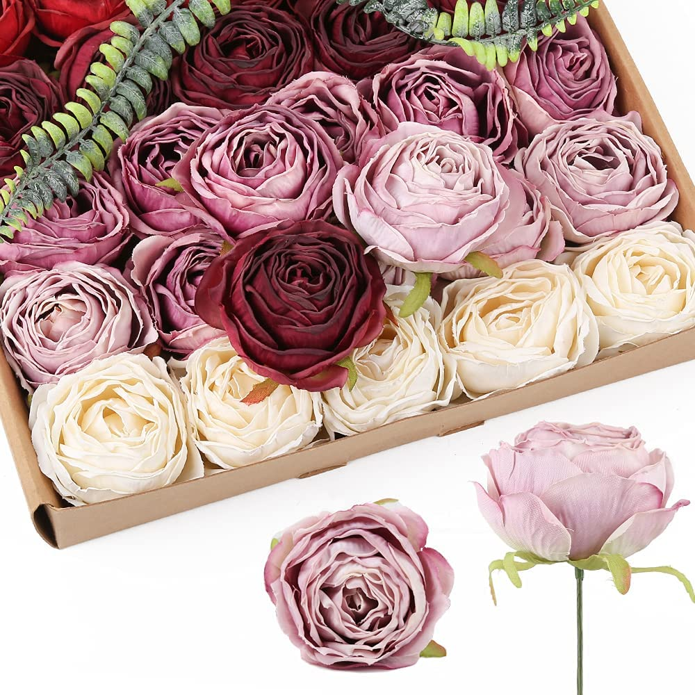 Burgundy Flower Roses Heads Artificial Combo 25pcs Purple We Now free shipping OFFer at cheap prices