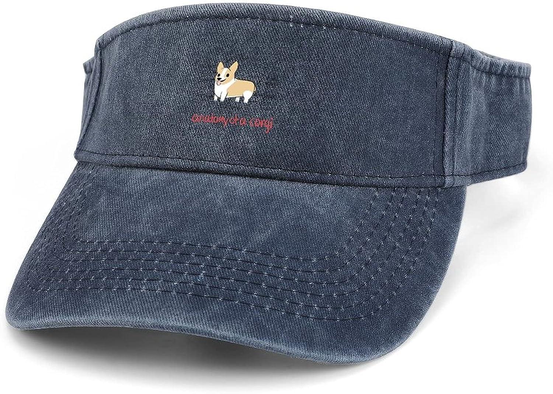 A Corgi Women Adjustable [Alternative dealer] Clip On Sun Wide Visor sold out Hats Cowboy Brim