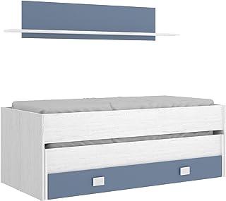 HOMEKIT Cama compacta con 2 Camas juvenils y cajón + estanteria, Artic+Aguamarina, Sencillo