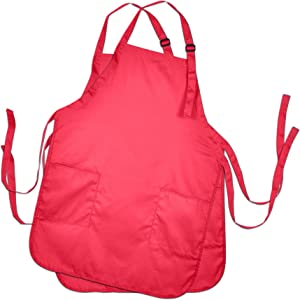 DALIX Apron Commercial Restaurant Home Bib Spun Poly Cotton Kitchen Aprons (2 Pockets) in Red 2 Pack