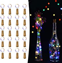 LEDIKON 20 Pack 20 Led Wine Bottle Lights with Cork,3.3Ft Silver Wire RGB Cork Lights Battery Operated Fairy Mini String Lights for Wedding Party Wine Liquor Bottles Bar Christmas Decor(Multicolor)
