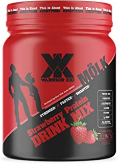 Warrior Kid Strawberry Protein Drink Mix for Kids - 100% Grass-Fed Whey Protein - All-Natural Protein Shake with Probiotic...