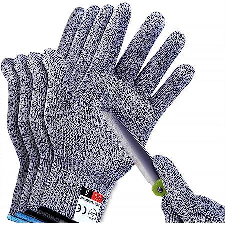 2Pair Sunwuun Cut Resistant Gloves Work Gloves Level 5 Working Safety Glove Man Cut Proof Gloves for Kitchen Butcher Outdoor Work Protective Hands
