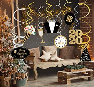 LSKOO Happy New Year Hanging Swirl – Pack of 30 Sturdy / 2020 New Years Eve Swirls/New Years Eve Theme Party Supplies/ 2020 New Year Party Decoration