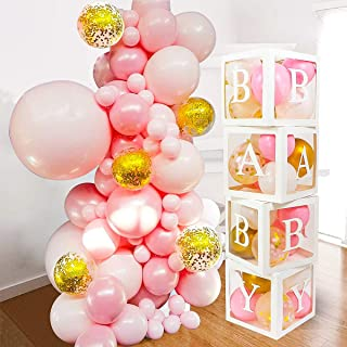 82 PCS Baby Shower Decorations for Girl - Jumbo Transparent Baby Block Balloon Box Includes BABY, A - Z Letters DYI, White...