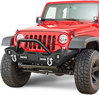 LEDKINGDOMUS Front Bumper Compatible for 07-18 Jeep Wrangler JK & Unlimited Rock Crawler Bumper with 4X LED Lights w/Winch Plate and D-rings