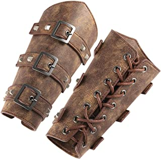 HZMAN Adults Faux Leather Arm Guards - Medieval Belt Leather Buckle Bracers - One Size - Leather Armband Pair