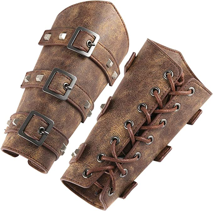 Steampunk Accessories | Goggles, Gears, Glasses, Guns, Mask HZMAN Adults Faux Leather Arm Guards - Medieval Belt Leather Buckle Bracers - One Size - Leather Armband Pair  AT vintagedancer.com