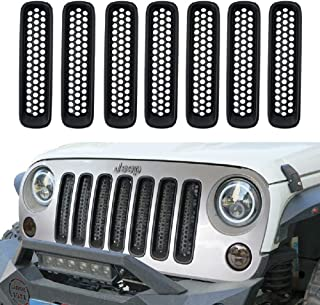 DIYTuning Clip-in Matte Black Mesh Grill Mesh Grill Insert for Jeep Wrangler JK JKU Unlimited Rubicon Sahara X Off Road Sport Exterior Accessories Parts 2007-2015