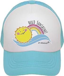 JP DOoDLES Hello Sunshine Kids Trucker Hat. Baseball Mesh Back Cap fits Baby, Toddler and Youth