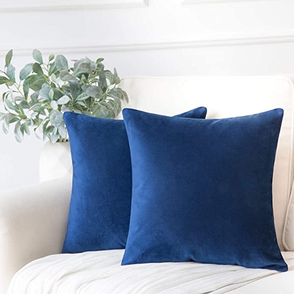 Phantoscope Set Of 2 Soft Cozy Velvet Throw Pillow Solid Square Cushion Cover Navy Blue 22 X 22 Inches 55 X 55 Cm