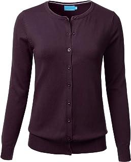 FLORIA Damen Button-Down-weiche Strickjacke Pullover mit rundem Ausschnitt lange Ärmel