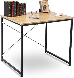 WOLTU Escritorio de Computadora Muebles de Oficina Mesa de PC Mesa de Oficina de Madera y Acero, con Estante TSB03hei-a Negro + Roble Claro
