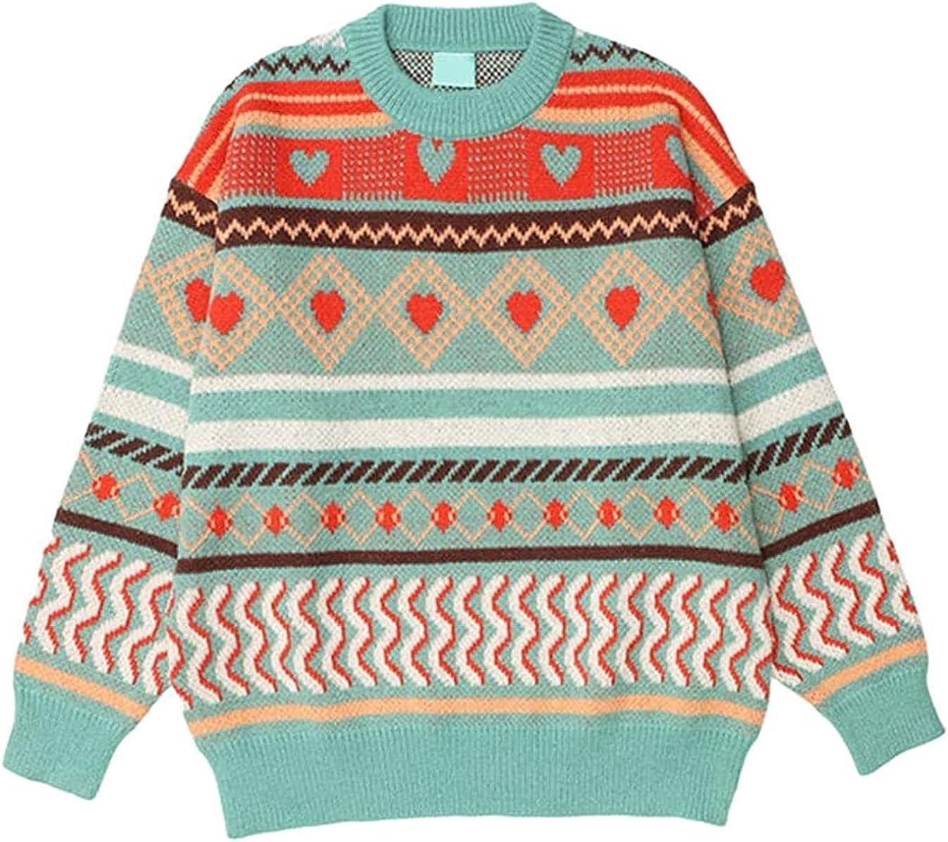 JOAOL Geometric Knitwear Men Women Sweaters Round Neck Pullover Sweater Lovers Clothing