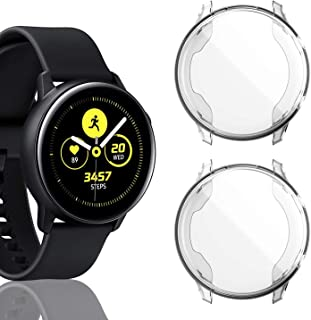 [2 Pack] Screen Protector Case for Samsung Galaxy Watch Active 40mm, All-Around TPU Anti-Scratch Flexible Case Soft Protective Bumper Cover for Samsung Galaxy Watch Active Smartwatch,Clear