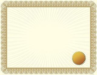 优质纸张! 金属金色价值证书,21.59cm x 27.94cm,100 支 25 片 Metallic Gold W/Seal