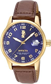 Invicta 15255 Watch Men's I-Force 18k Gold Ion-Plated Stainless Steel and Brown Leather