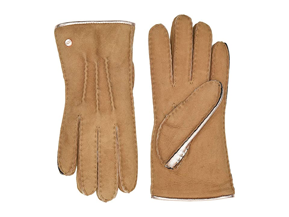 UGG Leather and Water Resistant Sheepskin Mixed Gloves (Chestnut) Extreme Cold Weather Gloves