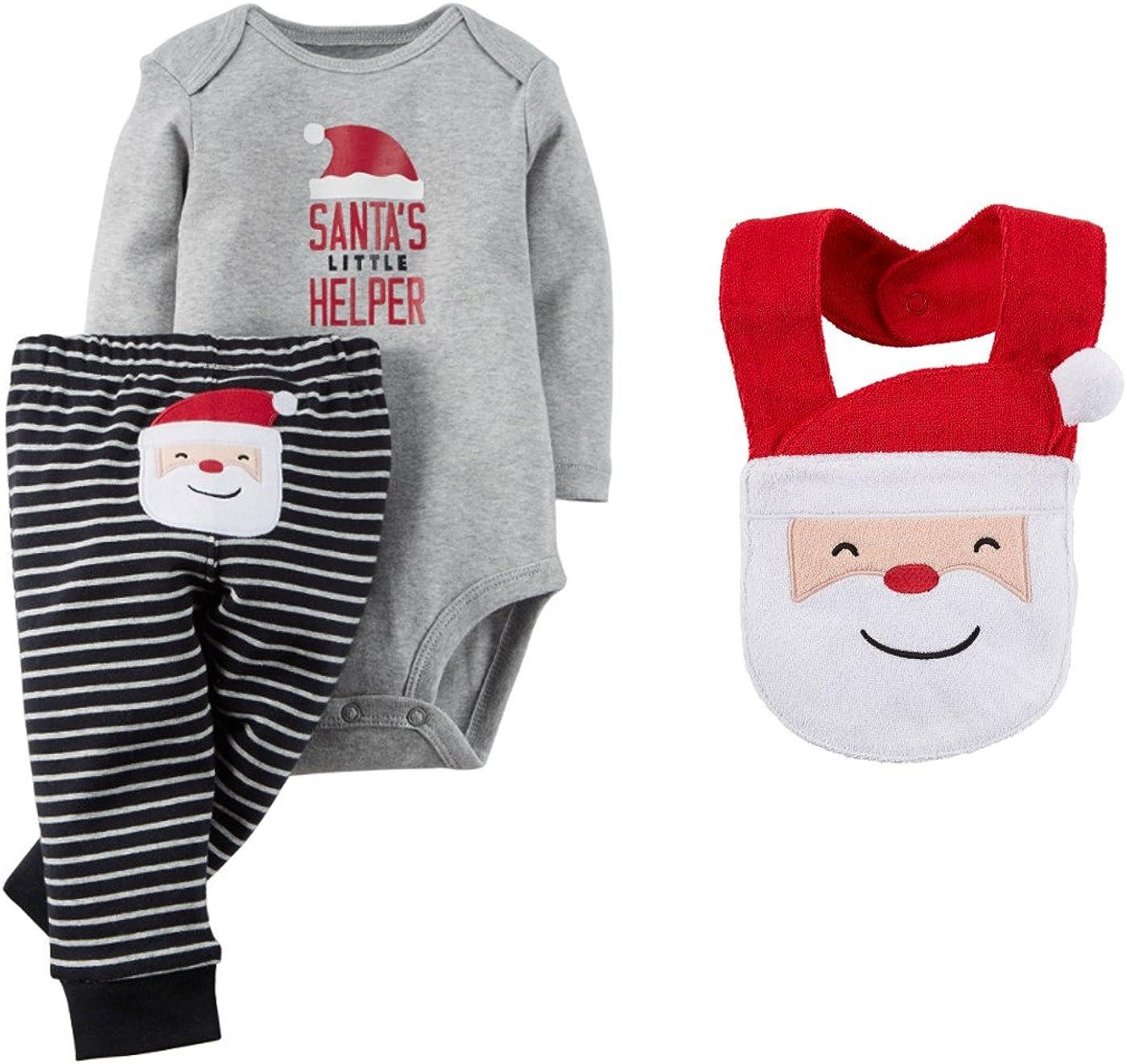 Carter's Unisex Baby Boys Girls Santa's Little Helper Bodysuit and Pants Set with Bib