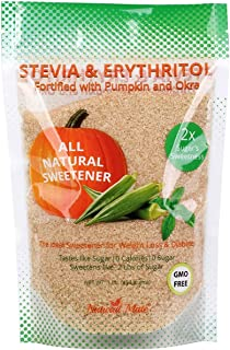 Natural Mate Stevia and Erythritol Sweetener Blend with Veggie Nutrients from Pumpkin and Okra (16oz / 1Lb, 3Pack) - All P...