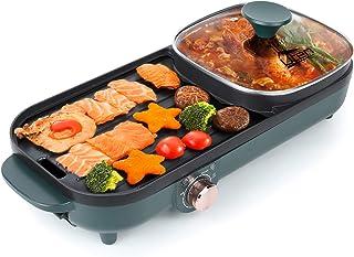 Uten Hot pot griller un pot plateau de cuisson électrique plateau de barbecue friture machine à barbecue ménage multifonct...